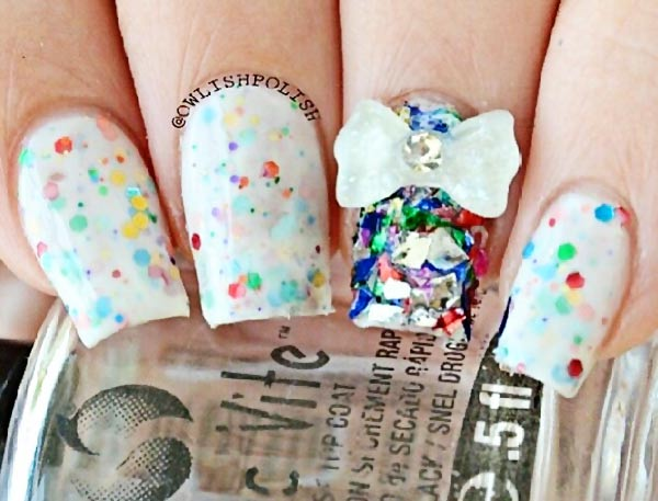 3D bow glitter jelly cute party nails
