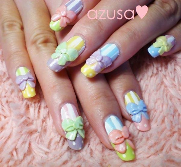 3D bows dots stripes pastel easter nails - Favnails