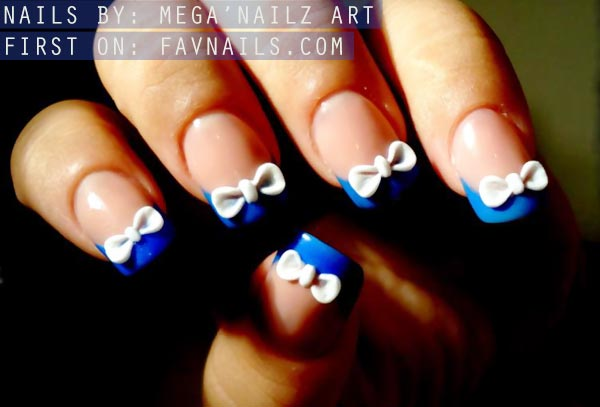 3D white bows blue tips french nails