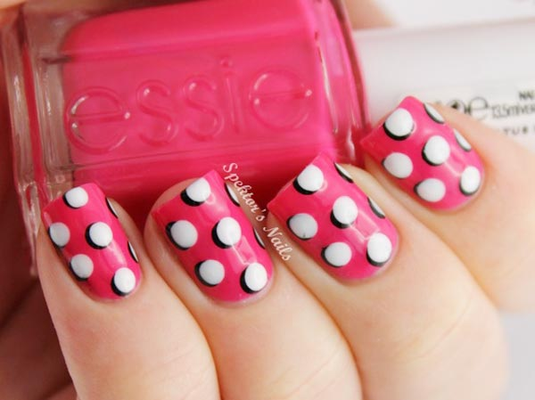 3d black white dots pink nails