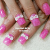 3d bows pink girly nails