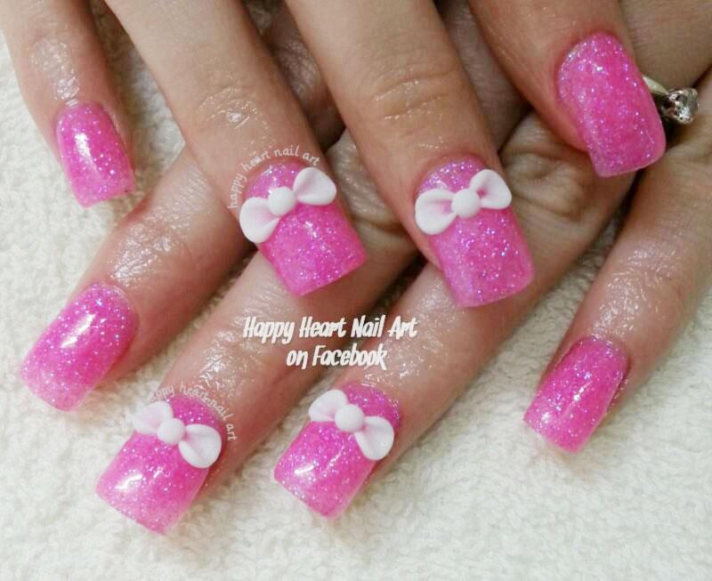 3d bows pink girly nails
