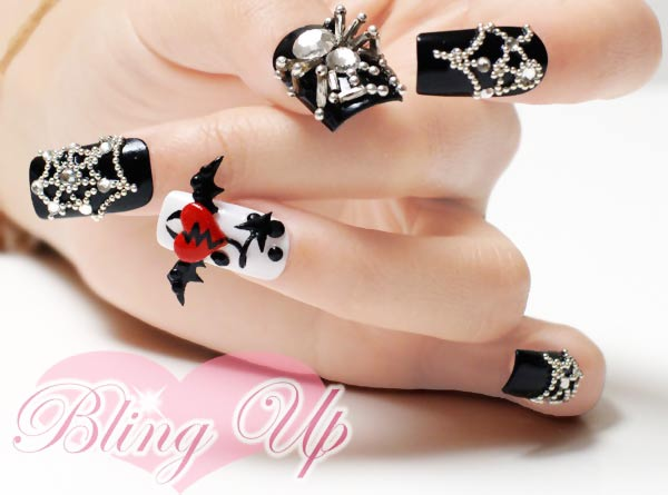 3D decorated black halloween nails