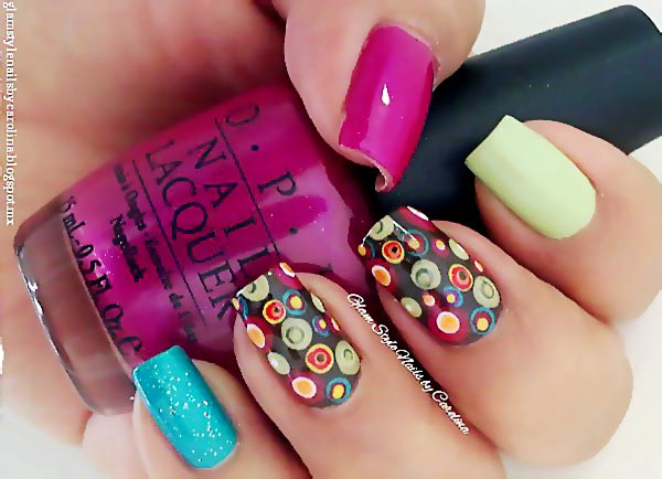 3d dotted accents colorful nails