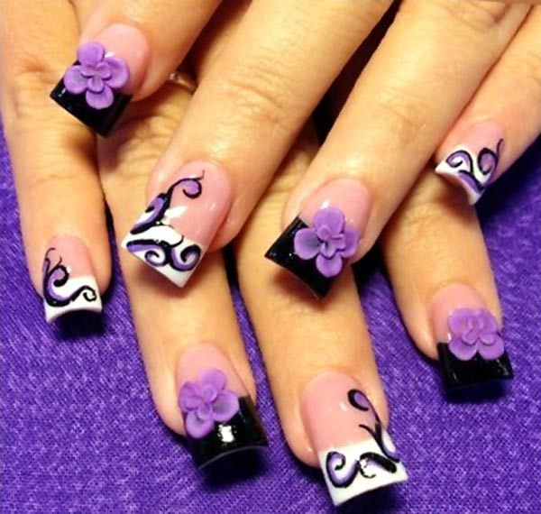 3D Flowers Purple Black And White French Art Nails