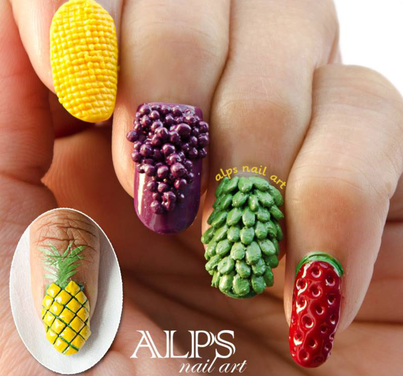 3D fruits summer nails