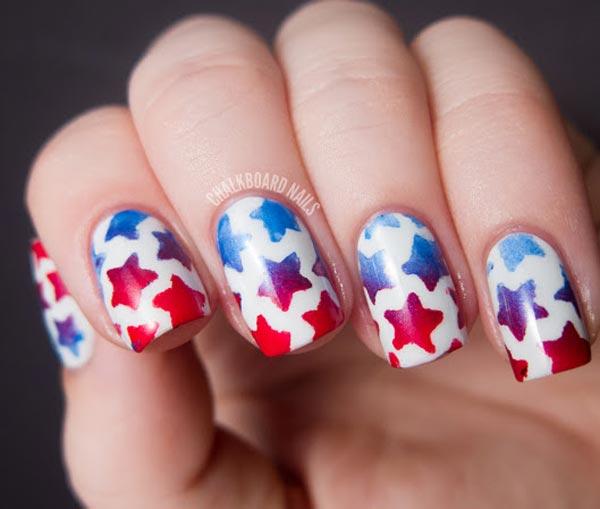 4th of july stars nails