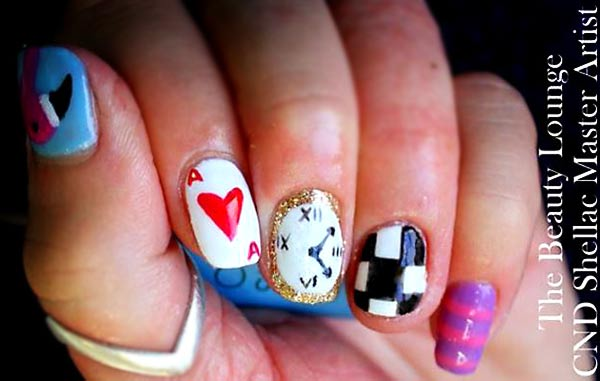 alice in wonderland freehand nails