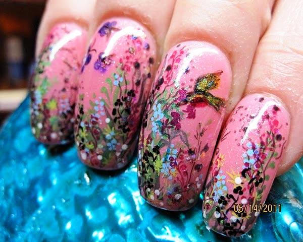amazing garden bird freehand pink nails