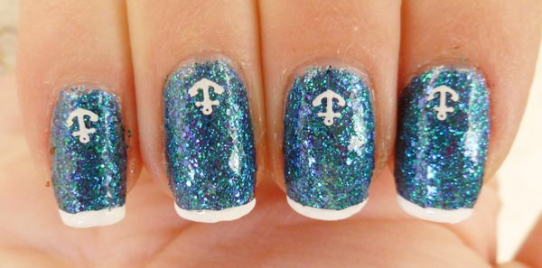 anchors blue glitter french nails