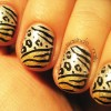 animal print silver gold gradient nails