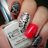 animal print red accent classy pinup nails