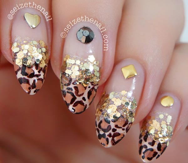 animal print tips gold glitter studded french nails