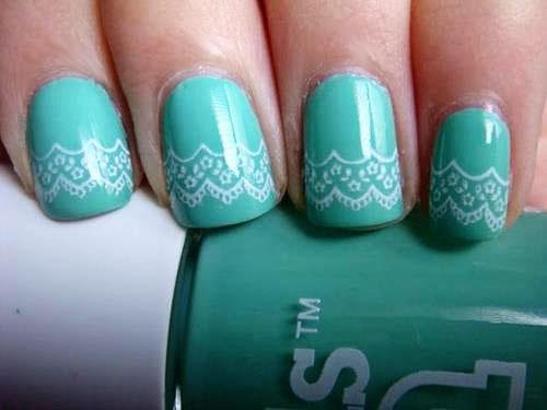 aqua lace nails