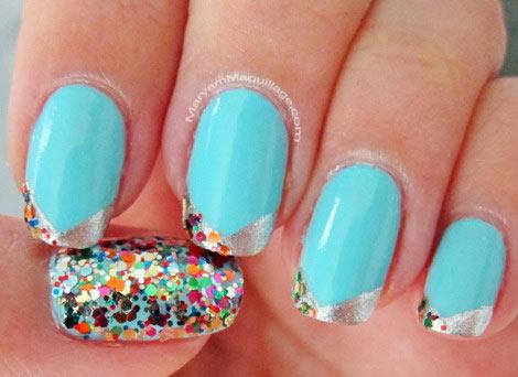 aqua silver colorful glitter nails