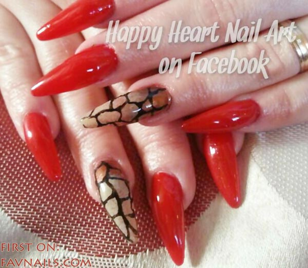 artificial red pointy fierce nails - Favnails