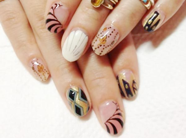 artistic nail art mix freehand nails - Favnails