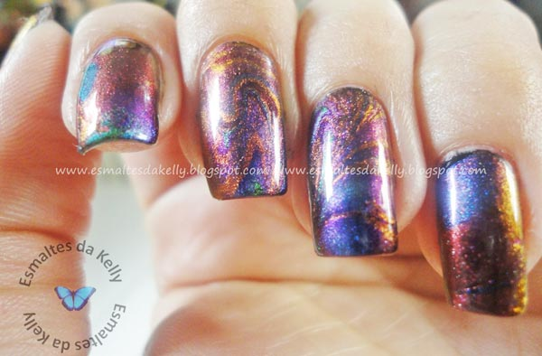 aurora boreal amazing marbled nails
