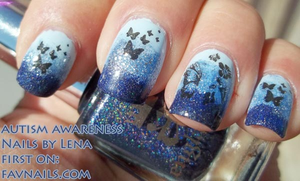 autism awareness blue glitter gradient nails