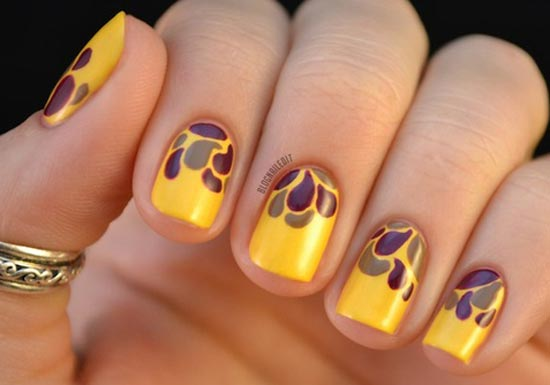 autumn petals on yellow nails