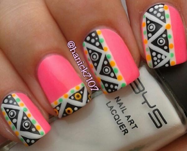 dotted aztec pink neon nails