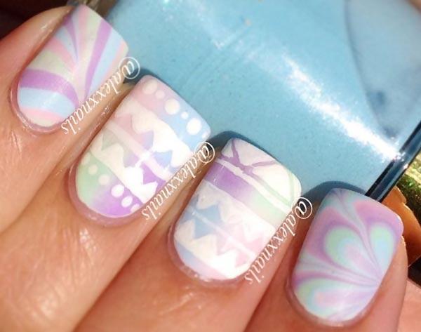 aztec marbled soft pastels nails