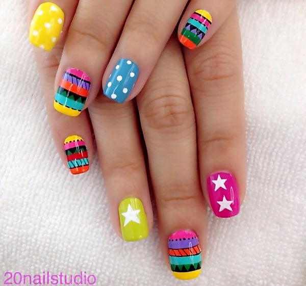 aztec stars dots circus nails