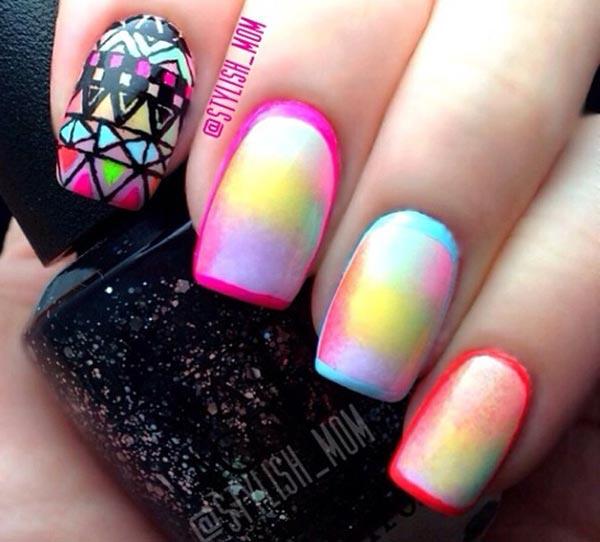 aztec watercolor sponged neon nails