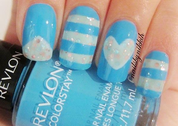 baby blue stripes glitter heart nails
