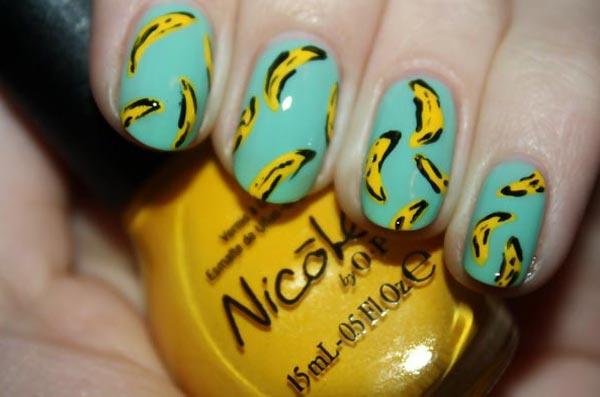 bananas teal summer nails