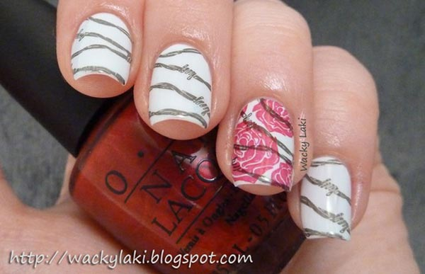 barb wire roses on white nails