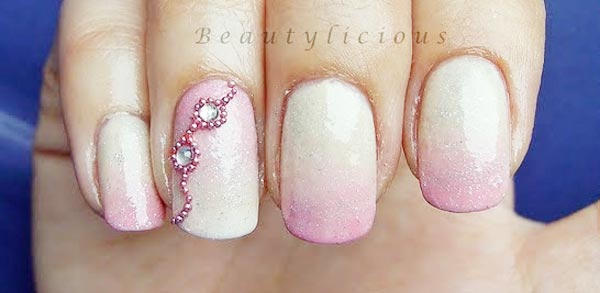 beads rhinestones pink gradient nails