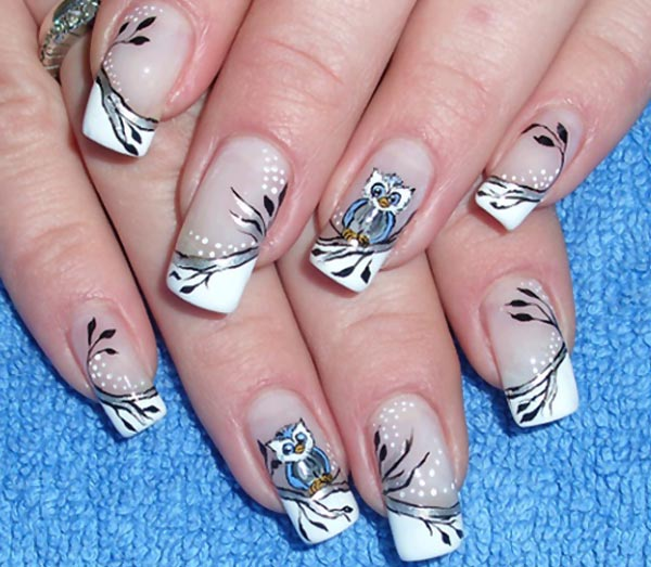 beautiful owl trees halloween french nails