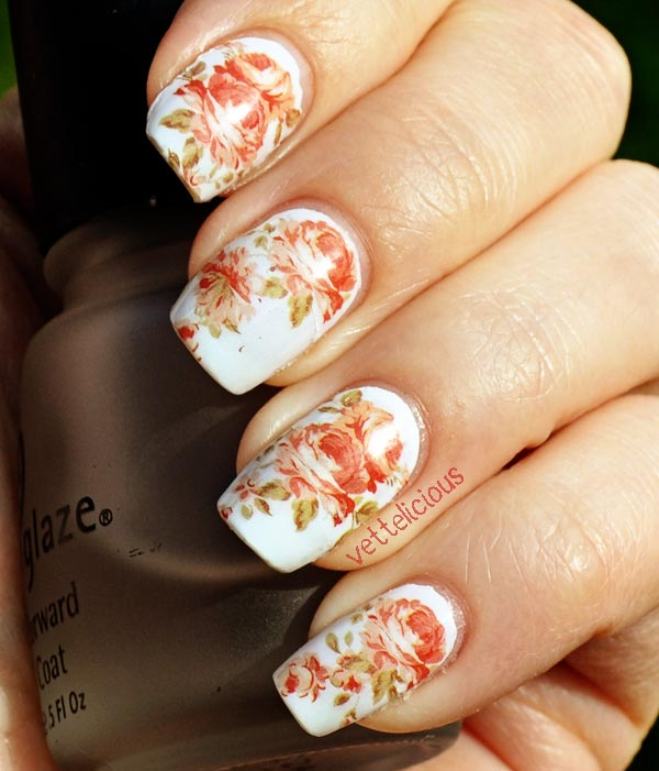 beautiful roses on white nails
