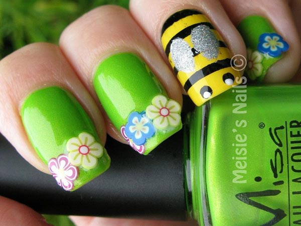 bees flowers green spring nails