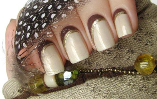 beige brown gold nails