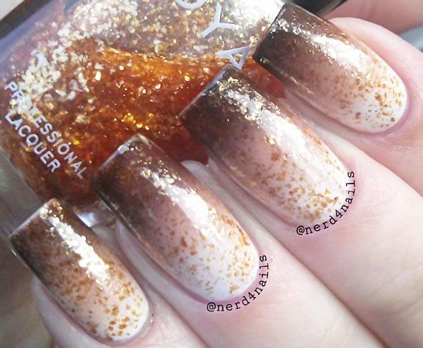 beige brown gradient glitter mocha nails