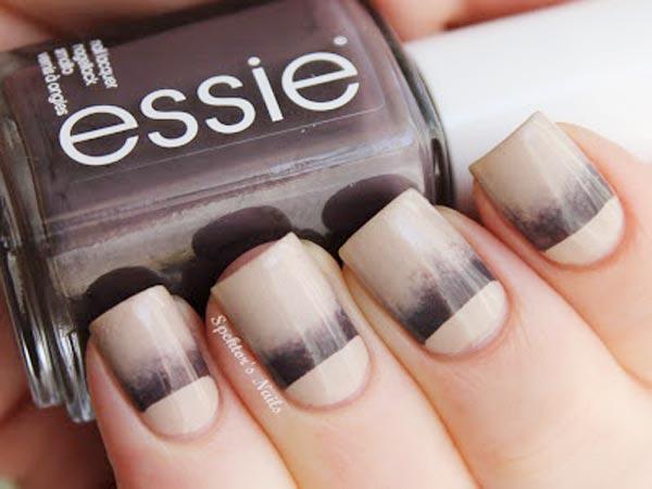beige brown gradient halfmoon nails
