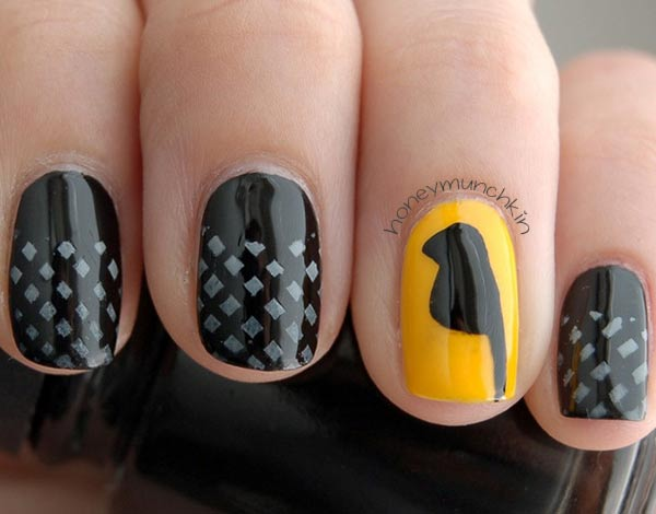 bird yellow accent fence gradient black nails