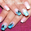 birds feather cage teal french nails