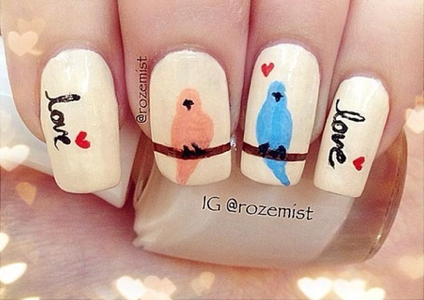birds hearts valentines day spring nails
