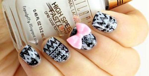 black and white aztec nails