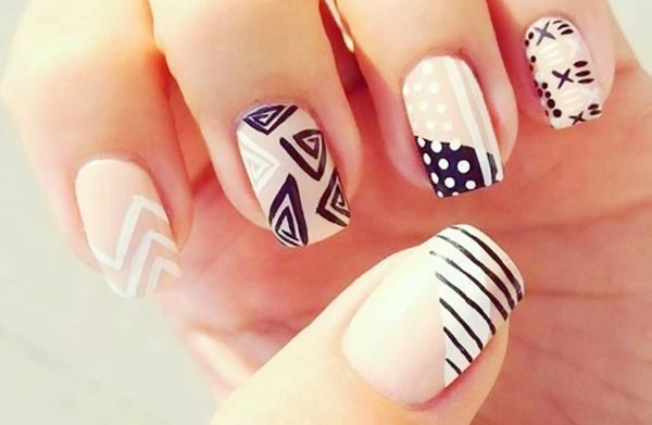 black and white beige tribal nails