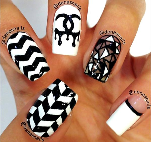 black and white chanel geometry nails