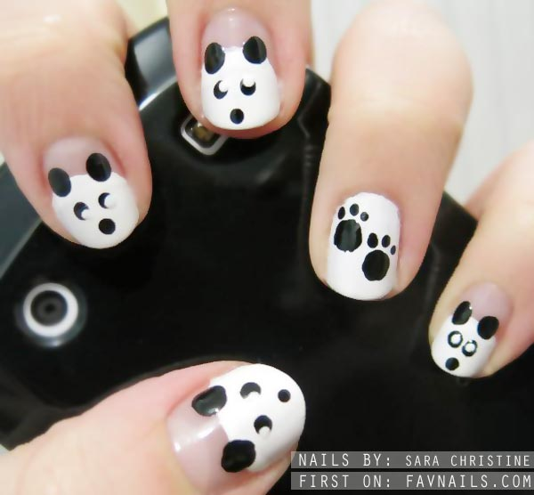 black and white cute panda nails
