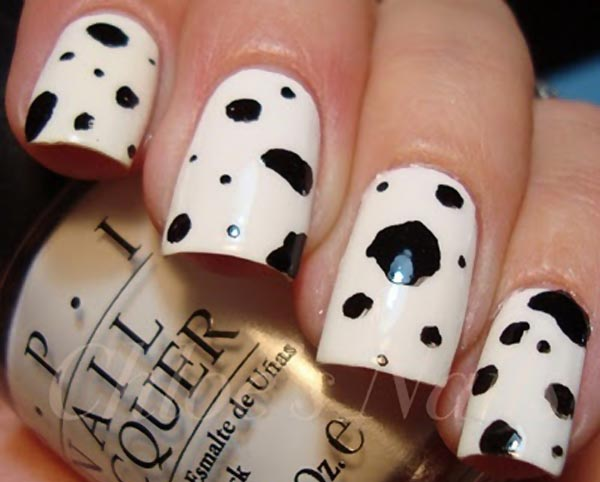 black and white dalmatian nails