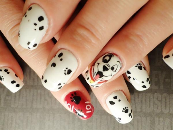 black and white dalmatians nails
