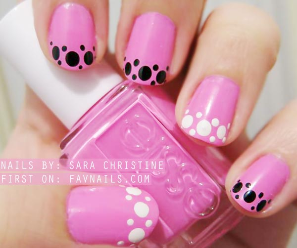 black white dots french pink nails