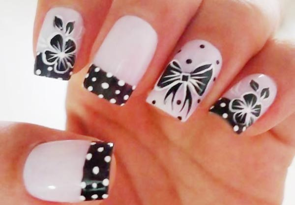 black and white dotted french nails