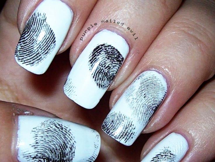 black and white fingertips halloween  nails